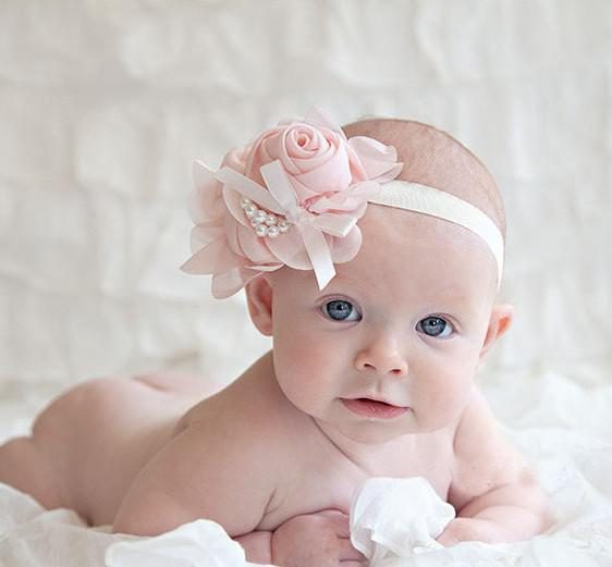 Bunte Baby-Chiffon-Stirnband für Fotografie-Requisiten Rosenperlenblume-Stirnbänder /