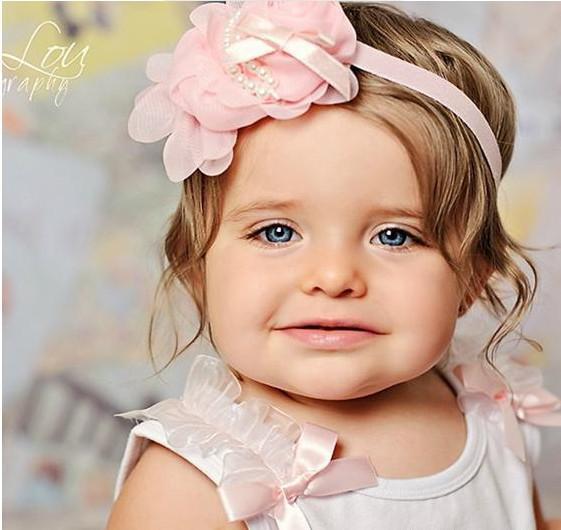 カラフルな赤ちゃんガールズシフォンヘッドバンドの写真小道具ローズパールフラワーヘッドバンド/ロット