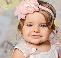 Wholesale Baby Hair Pretty - Vintage Infant Baby Girls Kids Hair Accessories Pretty Unique Rosette Petals Pearls Headbands Lovely Children Hair Bands 15pcs lot