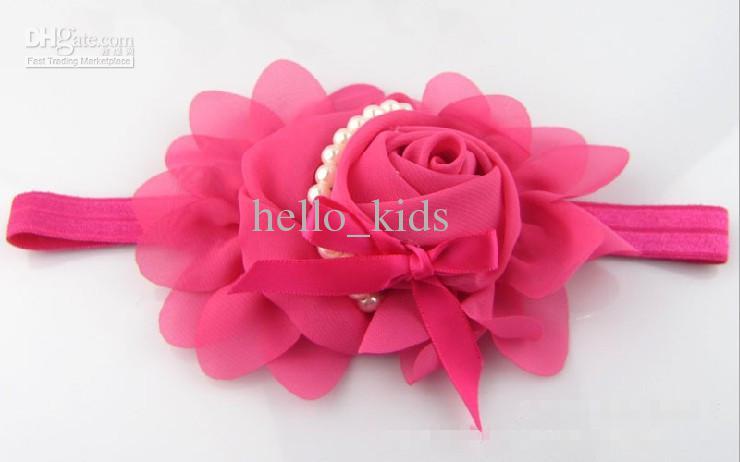Vintage infantil bebé niñas niños accesorios para el cabello bastante único roseta pétalos perlas vendas preciosas niños bandas para el cabello 15 unids / lote