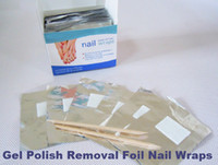 Freeshipping-Quick Easy Gel Polish Removal Foil Nail Wraps Soak-off Gel Nail Wraps 10boxes / lot