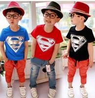 Wholesale T Shirts For Boys Wears - hot selling!!5pcs lot 2014 summer wear baby t-shirts superman batman short sleeve 100% cotton t-shirt for boys