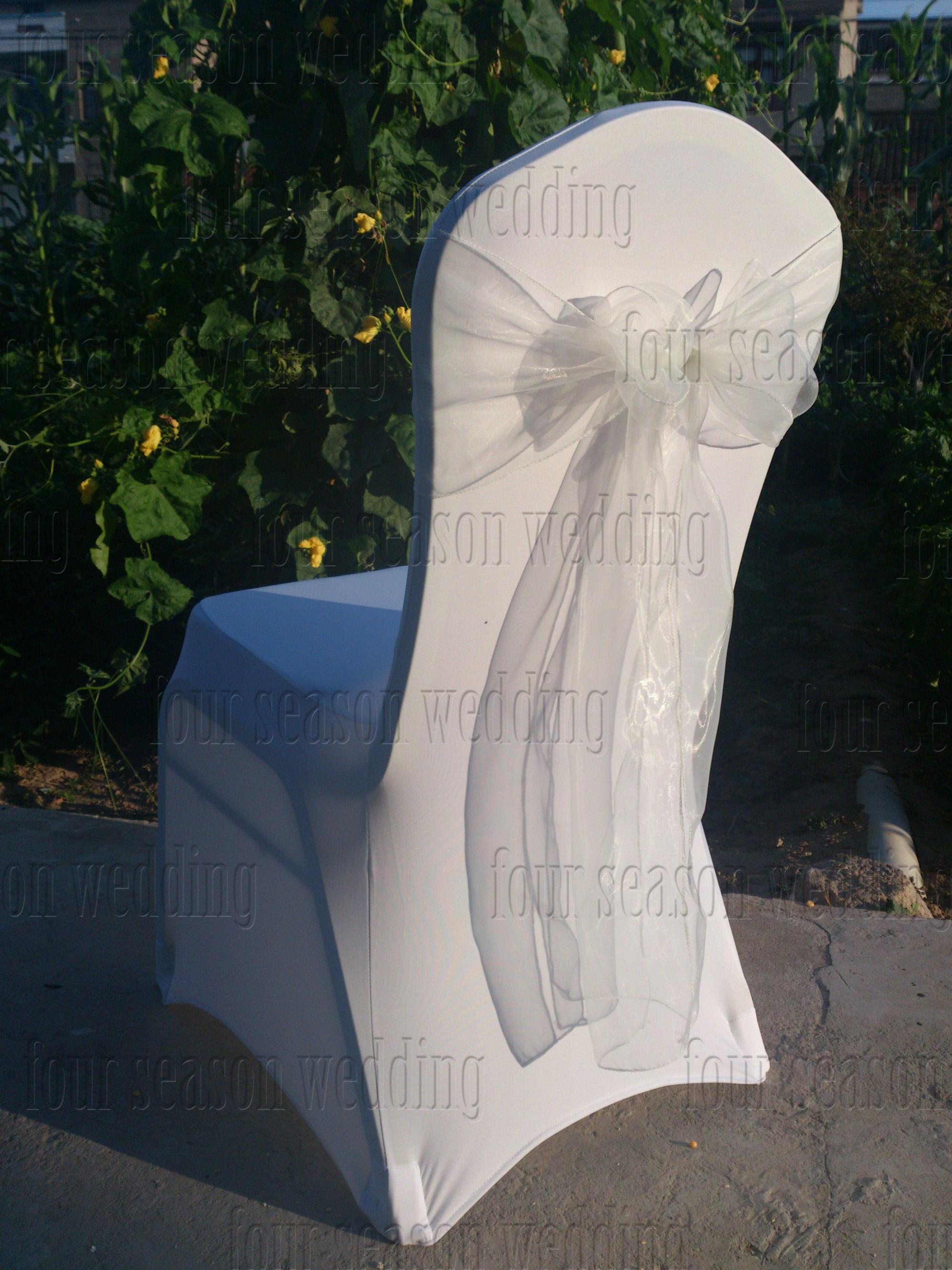 wholesale free shipping 100pcs white spandex chair covers100pcs white organza chair sashes