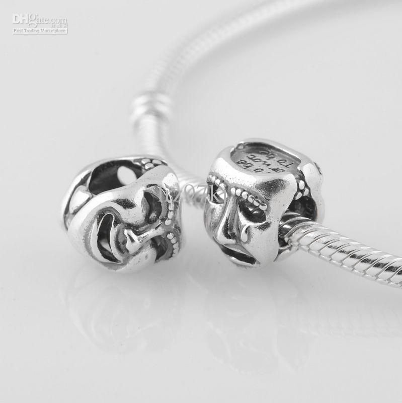 Autentisk S925 Stämplad Sterling Silver Teater Drama Mask Charm Bead Passar European Pandora Smycken Armband Halsband