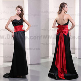 Wholesale Buy Black Dresses - 2013 Sweetheart Bridesmaid Dresses Black and Red with Fold Back Bow and Waist Belt Zipper Satin Dhyz 01 (buy 1 get 1 free necklace)