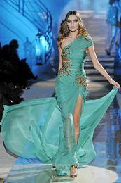 Wholesale Emerald Green One Shoulder Dress - Design Fashion One-Shoulder Sheath Split Emerald Zuhair Murad Formal Evening Dresses With Gold Sequins Chiffon Elegant Long Prom Party Gowns