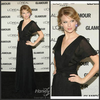 Wholesale Red Carpet Grammy - Taylor Swift V Neckline Chiffon Black Celebrity Dresses Angelina Jolie A Line Short Sleeve Floor Length Evening Dresses AM124