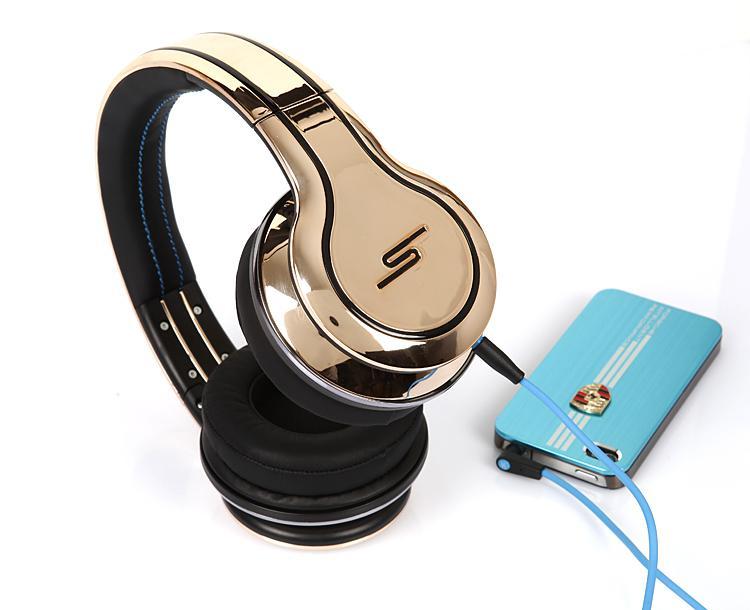 Auriculares de 50 centavos SMS Audio Edición limitada Calle chapado en oro On-Ear DJ Auriculares Barco rápido a través de muestras DHL