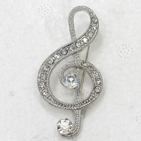12pcs / lot Atacado Crystal Clear Rhinestone Music Note Pin broche Moda Costume broche jóias presente de presente C917