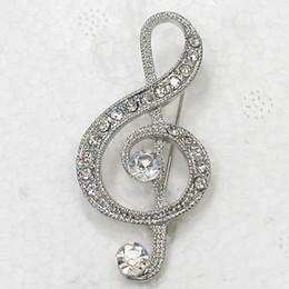 $enCountryForm.capitalKeyWord Canada - 12pcs lot Wholesale Clear Crystal Rhinestone Music Note Pin Brooch Fashion Costume brooches jewelry gift C917