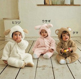 Wholesale Brown White Rabbit - Retail Baby Boys Girls Fleece Cotton Animal Hooded One-Piece Romper Children Halloween Xmas Costume Kids Bear Rabbit Sheep Outfit Bodysuit