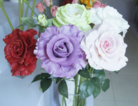 Wholesale Artificial Diamond Flowers - Express Free Shipping! 24pcs 65CM PU Latex Diamond Rose Real Touch Artificial Flowers Home Wedding Decor 8 Color Option #YR-016