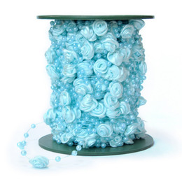 Wholesale Rose Hair Garland - 1Roll 30Meter Silk Sky Blue Rose Pearl Bead Garland Wedding Centerpiece Decoration Hair Style