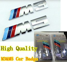Wholesale bmw m5 logo - with retail packag CAR BADGE stick silver M3&M5 adhesive logo Cars Decoration Stickers For BMW Sticker Metal 3D Car Sticker
