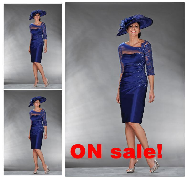 2013 Tea Length Royal Blue Mother Of Bride Dress With 3 4 Sleeves A Line  Boat Neck Applique Beads Short Mother Dresses Prom Evening Dresses Wedding  Mother ... bdcd5a0cc7c6