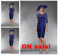 Wholesale Dress Bride Boat - 2013 Tea Length Royal Blue Mother Of Bride Dress with 3 4 Sleeves A line Boat Neck Applique Beads Short Mother Dresses Prom Evening Dresses
