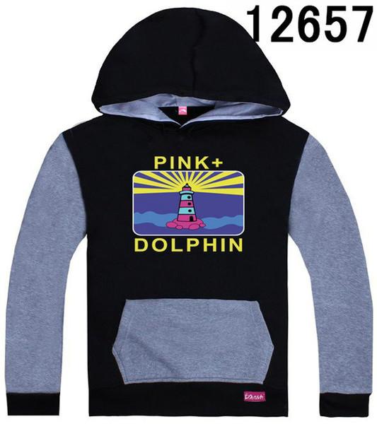 Negro-gris Pink Dolphin sudaderas con capucha y sudaderas para hombres tamaño S-XXXL moda popular sudadera con capucha Pullover buena calidad