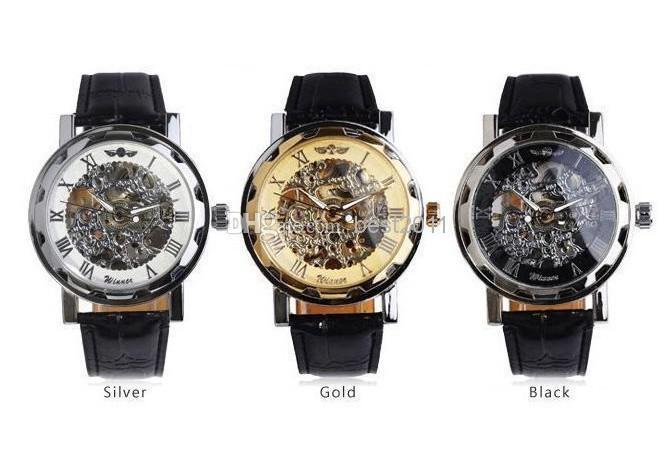 Ganador hueco LUJO banda de cuero Negro de acero inoxidable mecánico esquelético del reloj de oro NEGRO los hombres de lujo de plata relojes nave libre