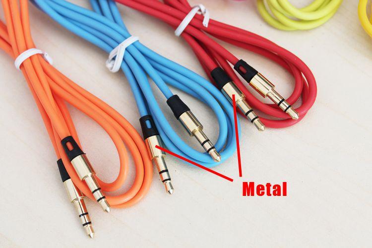 3.5mm Male Aux Audio Cable GloD Plated 1M / 3FT Bilförlängningskabelkablar via DHL 100+