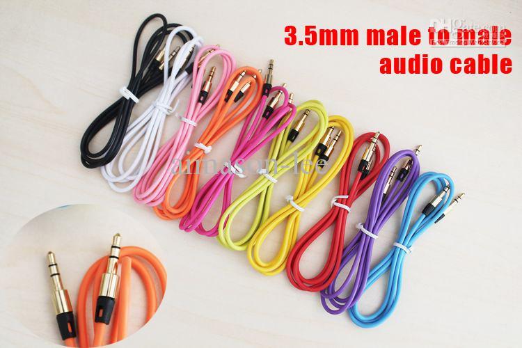 Cable de audio auxiliar con doble masculino de 3.5 mm GLOD PLAZADO 1 M / 3FT Cables de extensión de automóvil Cables a través de DHL 200+