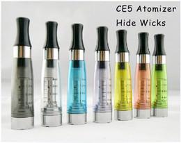 Cartomizer Wick For Ego T Canada - CE5 Atomizer Hide Wicks Clearomizer Cartomizer ce5 no wicks 1.6ml Atomizer E Cigarette Electronic Cigarette for EGO ego ego-t ego-w