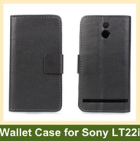Wholesale Leather Case For Xperia P - Wholesale Black Color PU Leather Wallet Flip Cover Case for Sony Xperia P LT22i Free Shipping