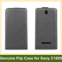 Wholesale Xperia E Leather - Wholesale New Arrive Genuine Leather Flip Cover Case for Sony Xperia E Dual C1605 Free Shipping