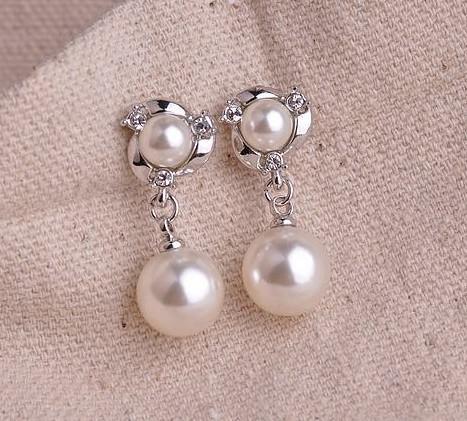 Boucle d'oreille en cristal de perle pour femme, cadeau Boucles d'oreilles en plaqué or, nouveau style 2013 couleur rose / argent
