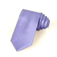 Wholesale Pure Silk Jacquard - New Striped Pure Violet JACQUARD WOVEN Silk Men's Tie Necktie D21