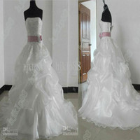 Wholesale Crystals Buy Cheap - New Strapless Organza Bridal Gown Pleated Crystal Beaded Lace Chapel train Cheap Garden Wedding Dresses (buy 1 get 1 free veil )