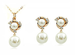 one piece earring Australia - 2013 New Arrival 14K Gold plated Pearl Jewelry Set Include One Piece Necklace & One Pairs Earrings #YB04S