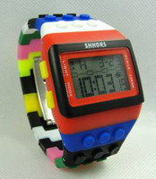 Wholesale Square Blocks Toy - Free Shipping Multi building block digital casual watches led watch toy brick wrist watches