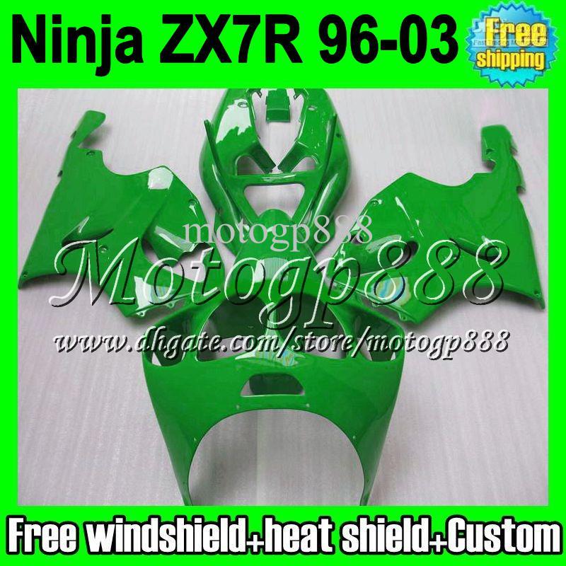 2gifts Carenado para KAWASAKI verde NINJA ZX7R 96-03 1996 1997 1998 2003 ZX 7R ZX-7R MP1254 nuevo brillo verde 96 97 98 99 00 01 02 03 carrocería