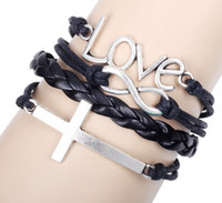 Wholesale Mens Leather Infinity Bracelet - Vintage Love Cross Infinity charm bracelet women mens Leather Bracelets