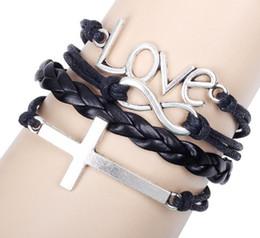 Wholesale Infinity Mens Bracelet - Vintage Love Cross Infinity charm bracelet women mens Leather Bracelets