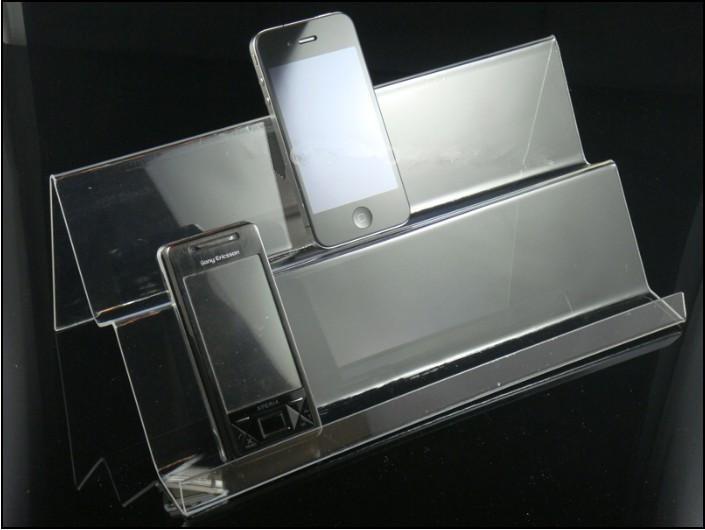 ホットセールクリアアクリル二重層ロングシェルフ携帯携帯電話ディスプレイスタンド多目的タイプユニバーサル