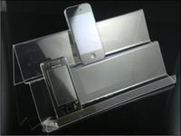 types stands achat en gros de-Vente chaude Clear Acrylic Double couche longue étagère Mobile téléphone portable présentoir Multi-purpose type pour universel