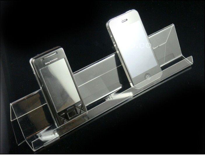 Suporte de exposição móvel acrílico do telemóvel do suporte do telefone móvel do espaço livre claro da única camada,