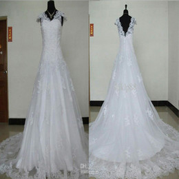 Wholesale Buy Short Gowns - Actual Images High quality Luxury Organza Applique Beaded Cap sleeve Wedding Dresses Lace Bridal Gowns (buy 1 get 1 free veil )
