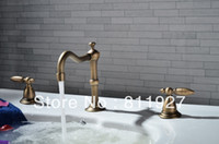 Wholesale guarantee quot MINISPREAD three hole set high grade old style double handle brone basin faucet