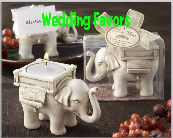 "Creative Romantic Wedding Favors Antique-Ivory Tea Lights ""Lucky Elephant"" Candle Holder Back Seat Clamp Supplies Free Shipping"