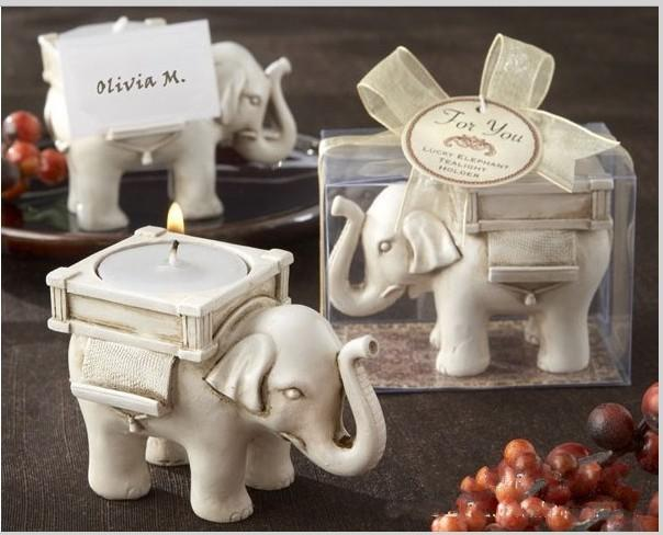 "Creative Romantic Wedding Favors Antique-Ivory Tea Lights ""Lucky Elephant"" Candle Holder Back Seat Clamp Supplies"