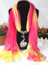 Wholesale Wholesale Fashion Jewelry Usa - Pendant scarf colorful peocock charm beads jewelry beads winter lady women's scarvf for USA fast shipping