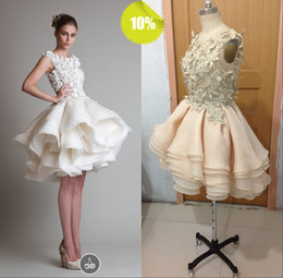 $enCountryForm.capitalKeyWord Canada - Sexy Cute Real Picture Short Ball Gown Silk Organza Zuhair Murad Prom Evening Wedding Dresses With Scoop Neckline And Applique Hand Working