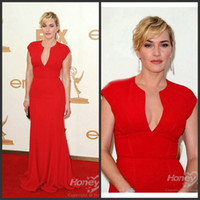 Wholesale Emmy Celebrity Dresses - Kate Winslet Emmy Red Carpet Celebrity Dresses V-Neck Neckline Pleated Floor Length Chiffon Evening Dress Prom Gowns AM157