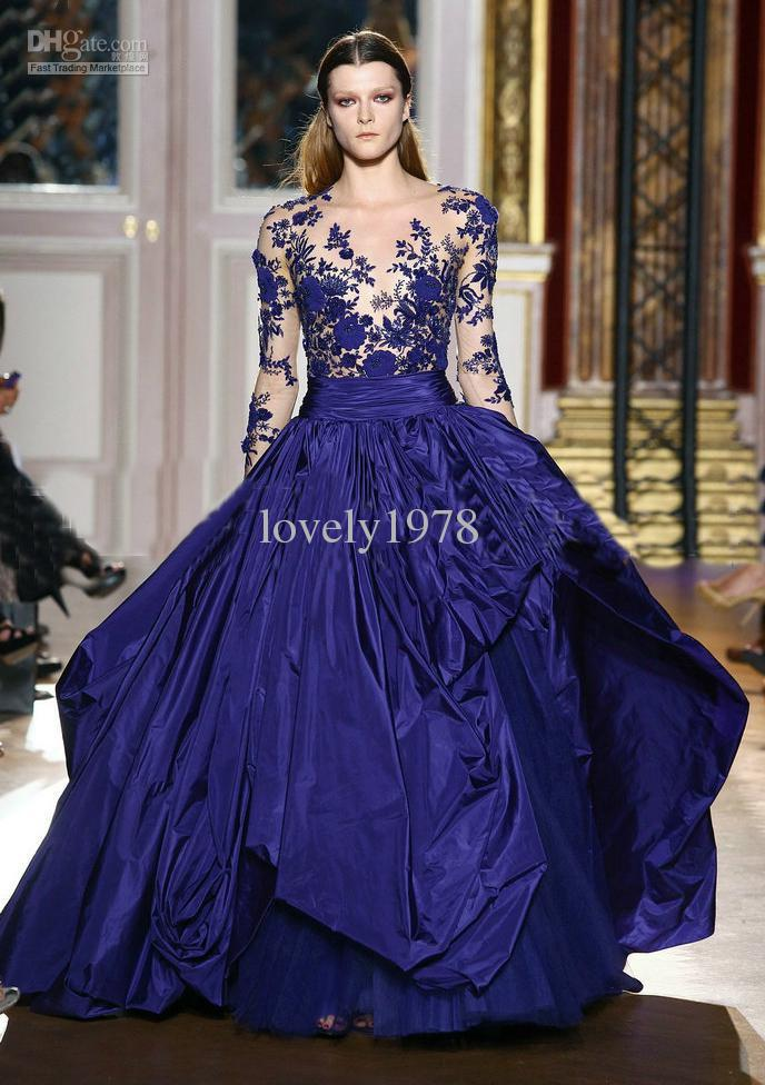 New Arrival Zuhair Murad Prom Dress Royal Blue Long Sleeve Applique ...
