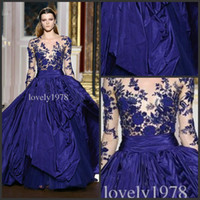 Wholesale Silver Maternity Wedding Gowns - New Arrival Zuhair Murad Prom Dress Royal blue Long Sleeve Applique Sheer Formal Evening Wedding Gowns Dresses Celebrity Dresses V-Neck