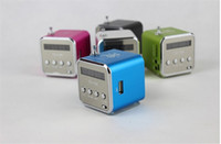 Wholesale Iphone 4s Sound Box - TD-V26 LED Mini portable Speaker Digital Sound Box Sound Music Speaker screen radio TF card for iPhone 5 4S for MP3 MP4 PC Netbook DHL Free