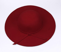 Wholesale Women Wool Dress Hats - Fashion Women Red Soft Floppy Wide Brim Cloche Fedora Dress Hat Retro Goth Wool Bowknot Band DII6*1