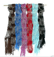 Wholesale Rhinestone Floral Bling Wholesale - Free shipping fast delivery Beaded Jewel Scarf Crocheted Bling Rhinestone Beaded Colorful Knitted Scarf   Belt   Shawl   Wrap